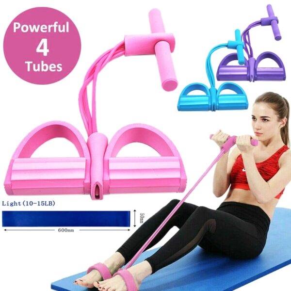 Tension Rope 4 Tube Puller Pedal Ankle Abdominal Exerciser Fitness Elastic Sit Up Pull Rope Home Gym Sport Training Equipment
