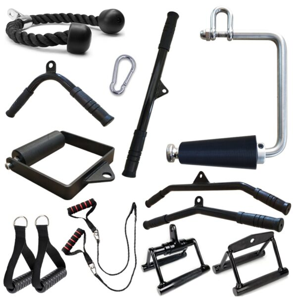 Gym Lat Pull Down Rope Pully Cable Machine Attachment Triceps Fitness T-Bar Handle Grip Equipment for Home Rowing Weight Workout